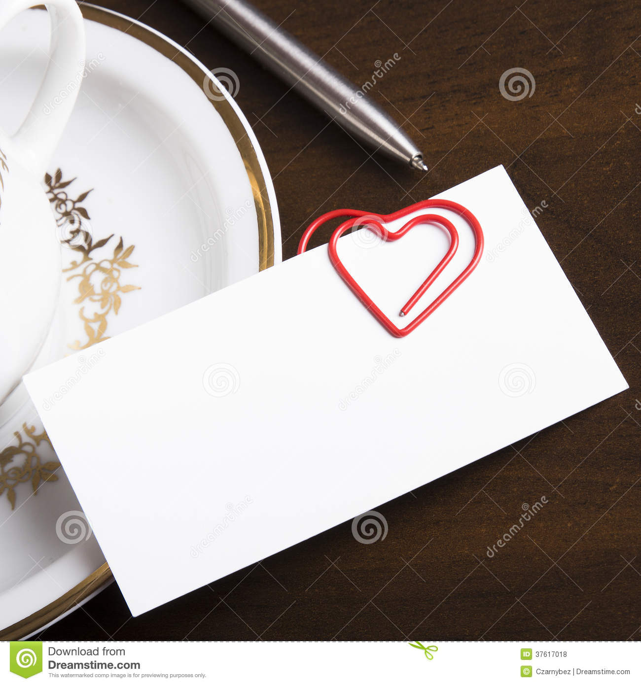Empty business card and heart shaped paper clip stock photo image download empty business card and heart shaped paper clip stock photo image of page colourmoves