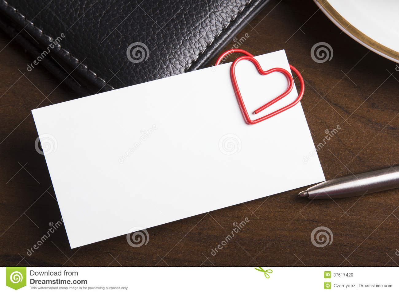Empty Business Card And Heart Shaped Paper Clip Stock Photo - Image ...