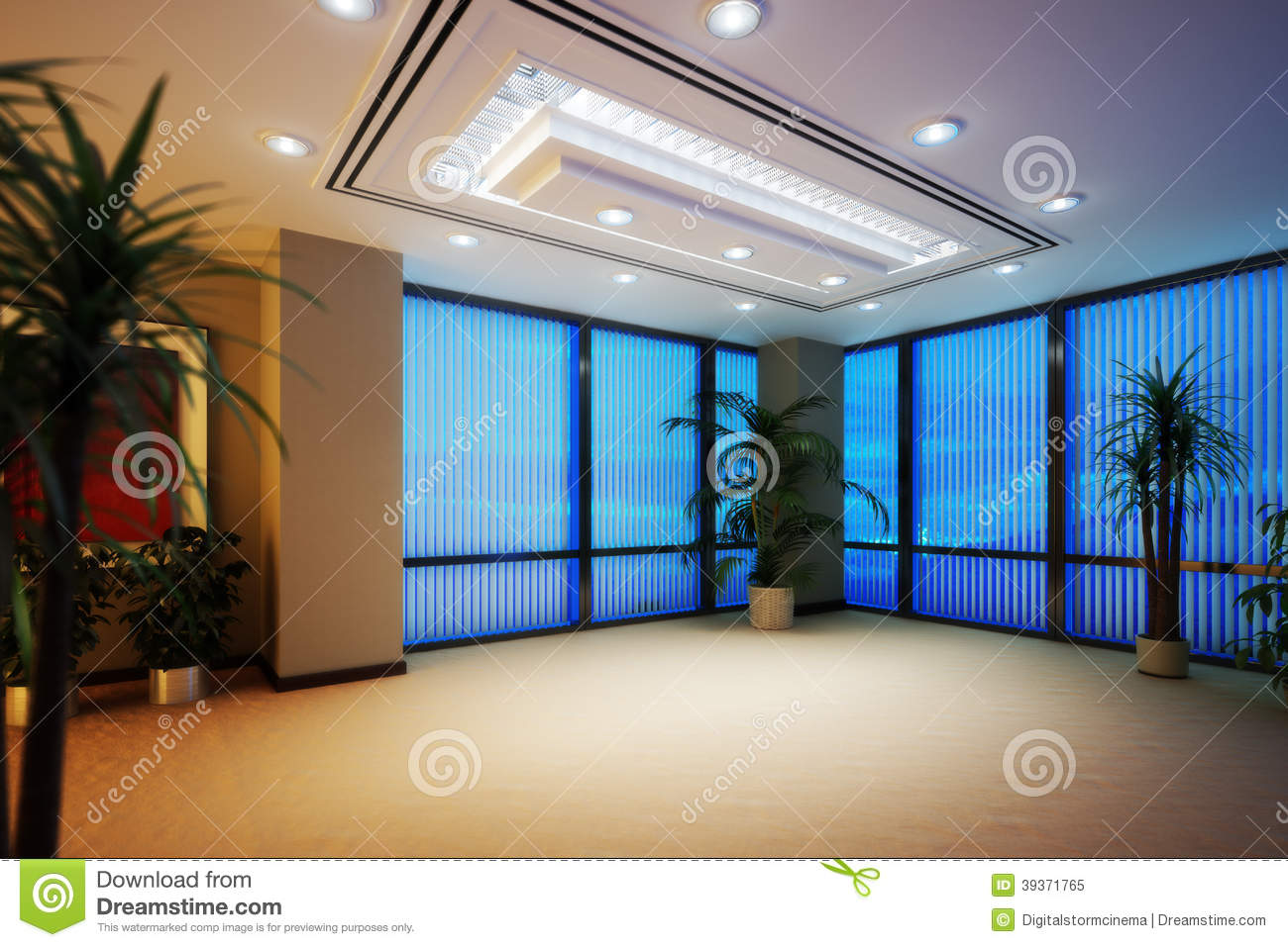 Empty Business Office Or Apartment Room Highrise Interior Stock ...