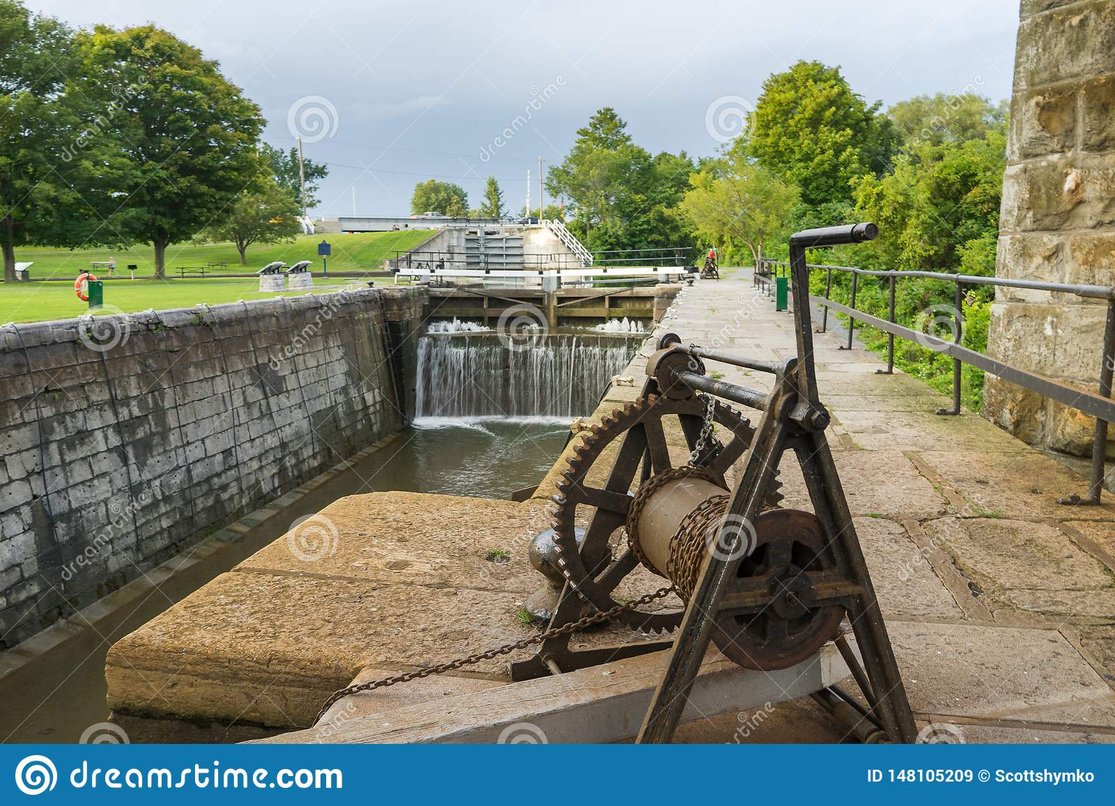 Empty canal lock at Kingston Mills, Ontario