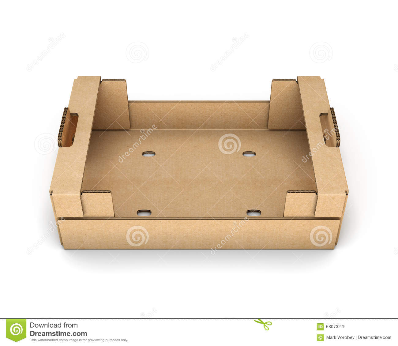 Empty Cardboard Boxes For Fruit And Vegetables Stock