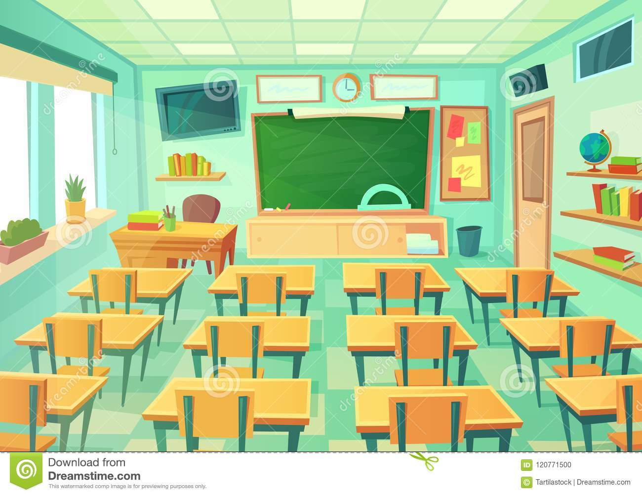 Modern Classroom Lesson Indicators ~ Empty cartoon classroom school room with class chalkboard