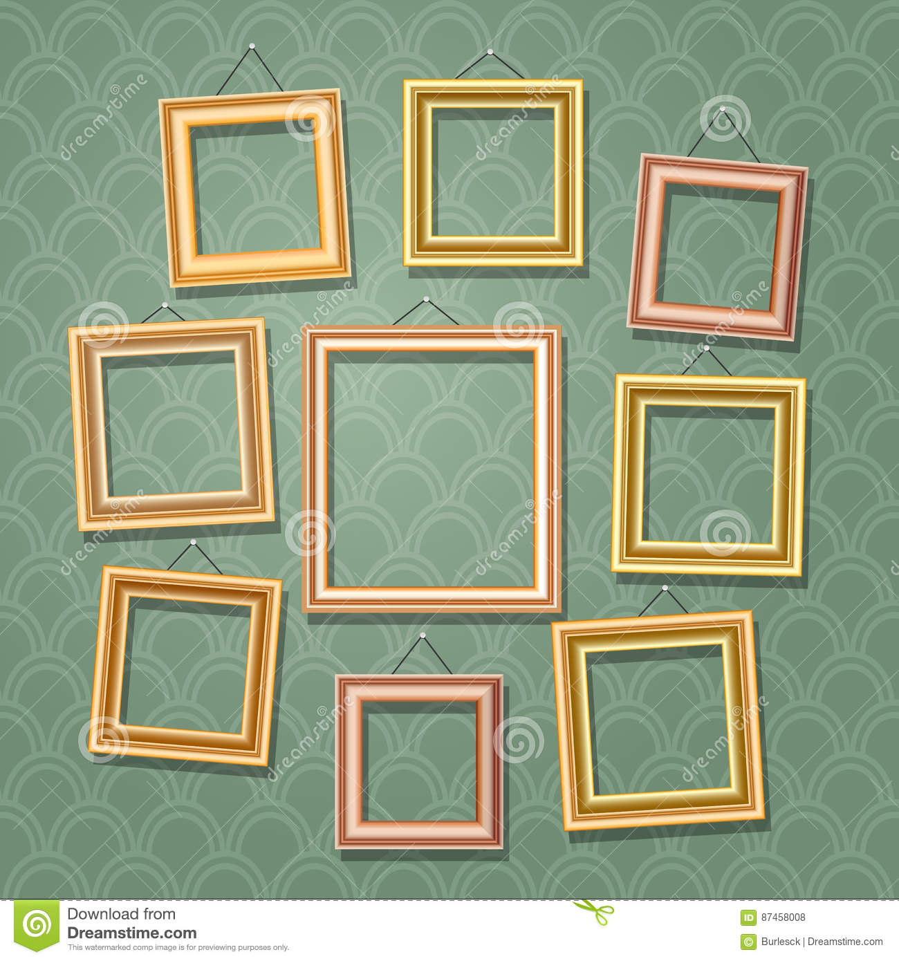 Wood frames set free vector - Empty Cartoon Photo Frames On Green Wall Retro Wooden Picture Frame Set Vector Illustration Stock