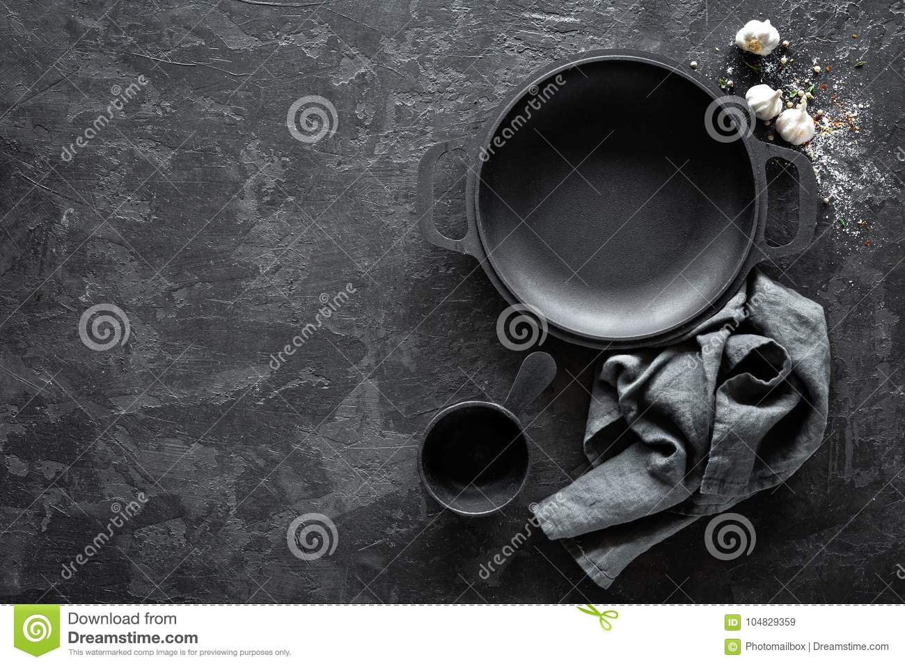 Empty Cast Iron Pan With Cutlery On Dark Background For Restaurant Menu Stock Image Image Of Space Cutlery 104829359