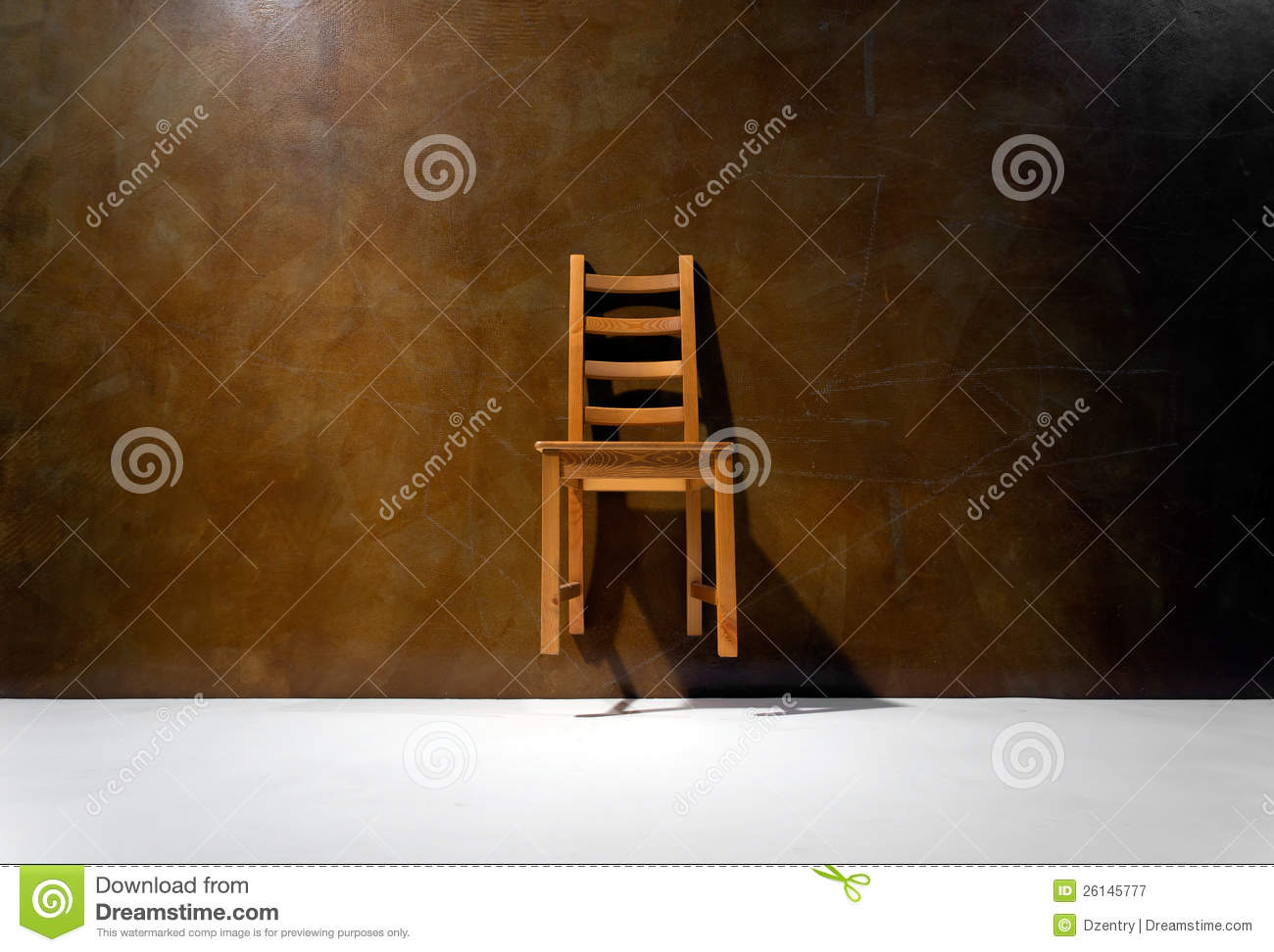 empty chair against the wall royalty free stock photography image 26145777. Black Bedroom Furniture Sets. Home Design Ideas