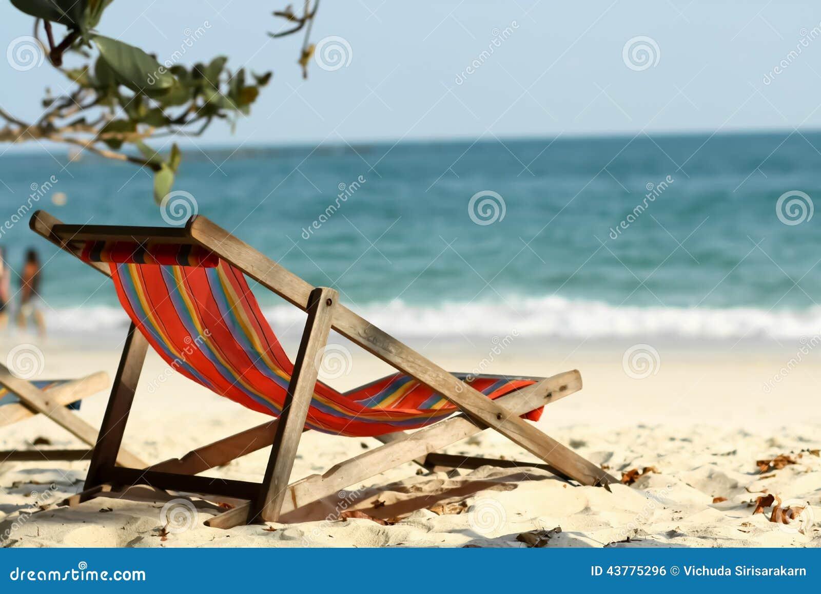 A empty chair on the beach