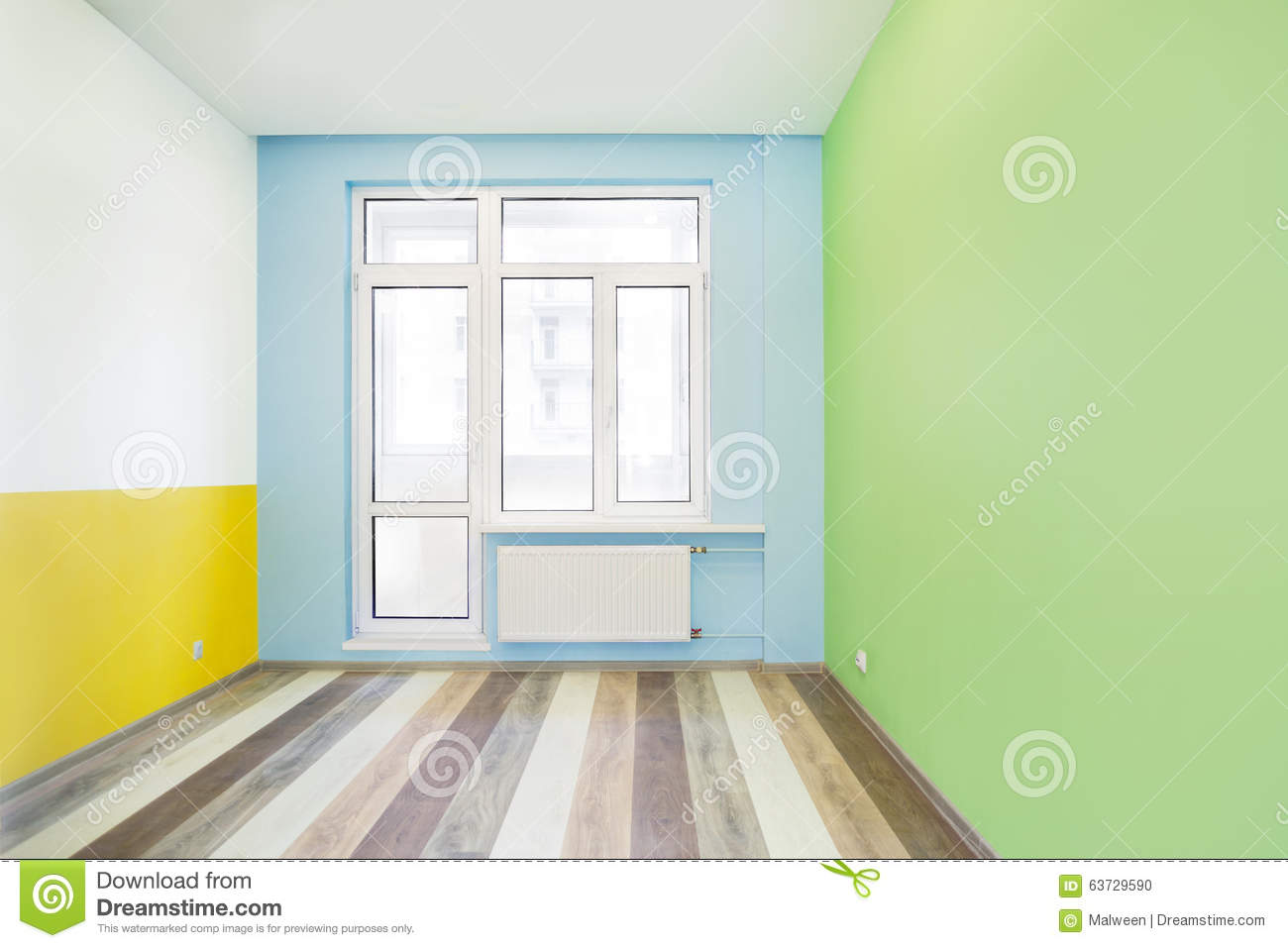 Empty Cheerful Kids Room With Color Walls Stock Photo
