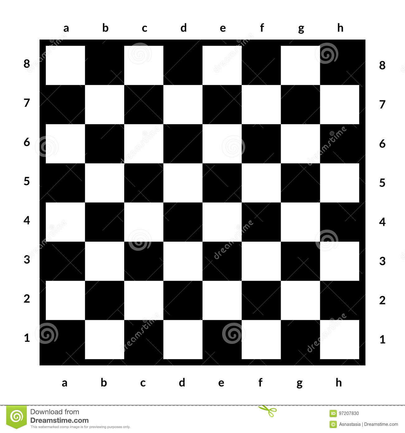 Empty chessboard isolated. Board for chess or checkers game. Strategy game concept. Checkerboard background.