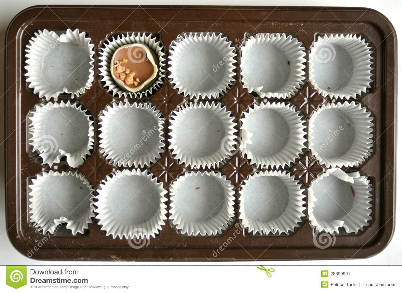 Empty Chocolate Box End Of Diet Concept Stock Image