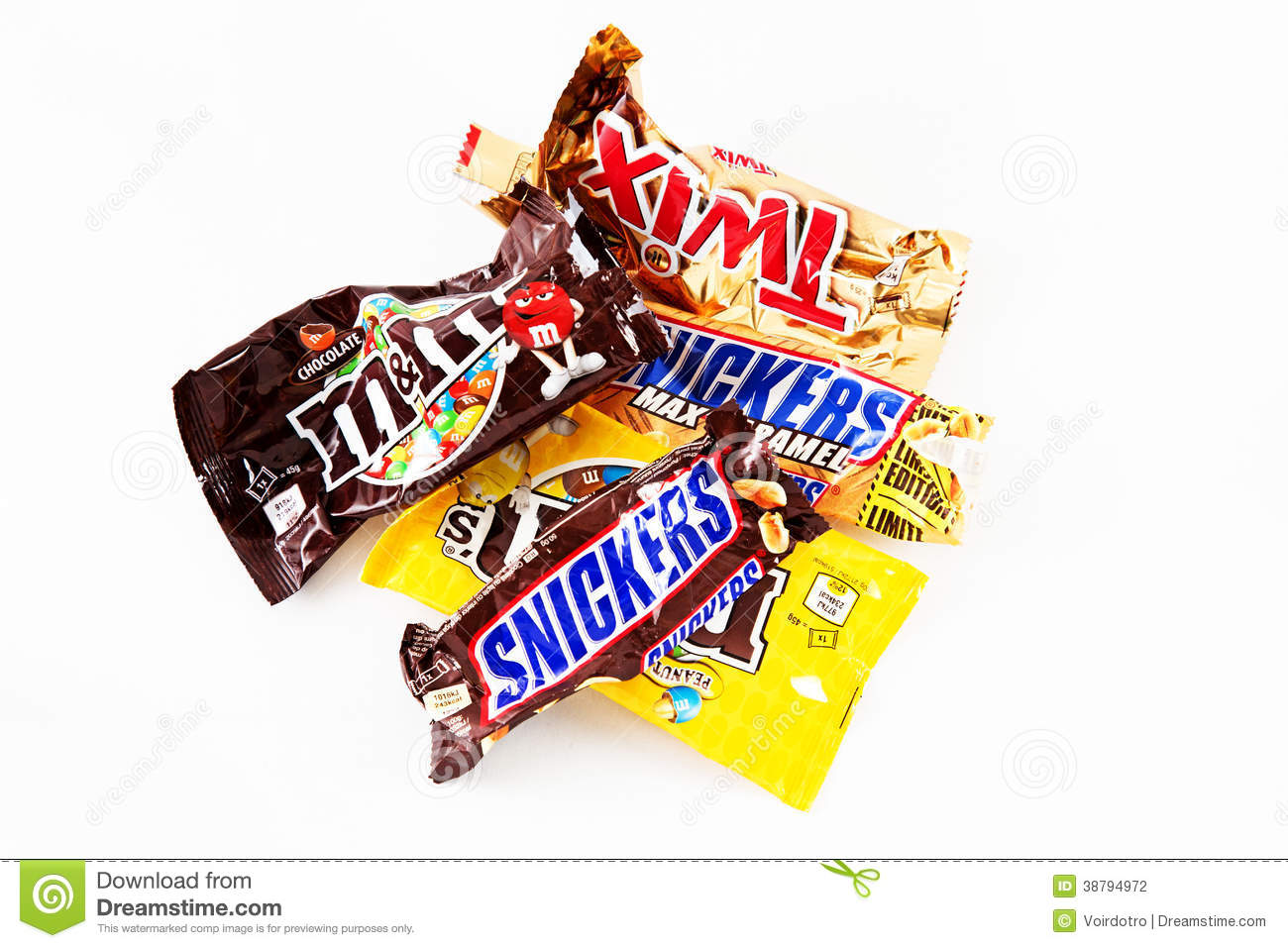 Empty Chocolate Candy Bars Wrappers Editorial Photography - Image ...