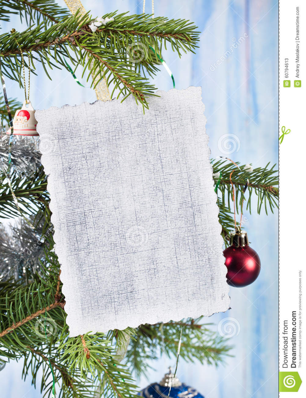 Empty christmas card on fir tree stock photo image