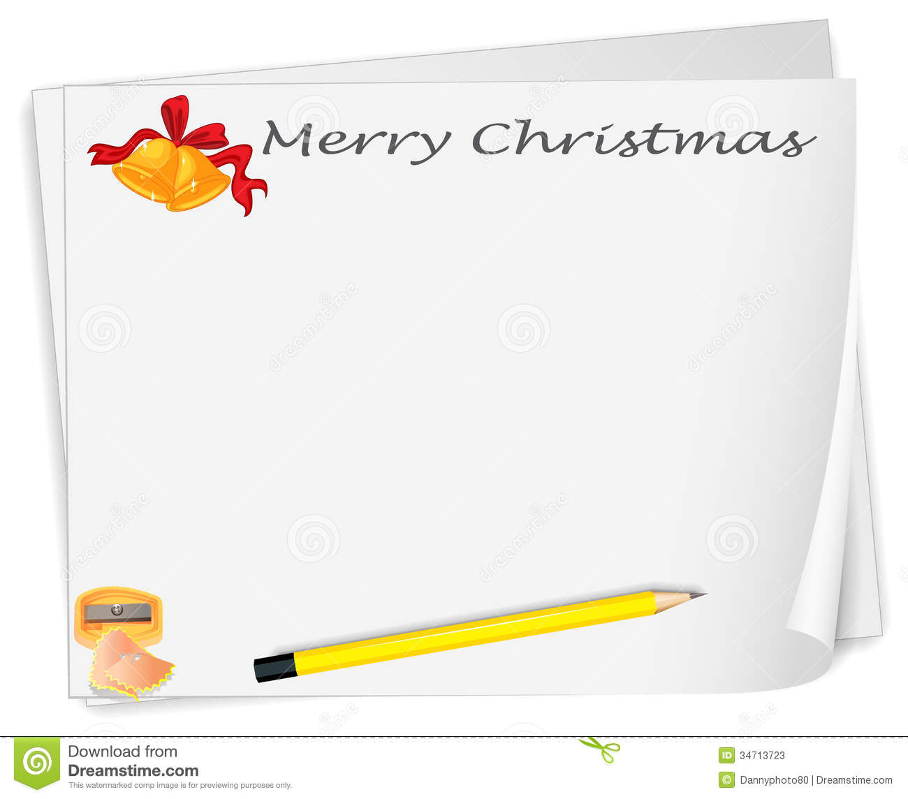 An Empty Christmas Card Template With A Sharpener And A Pencil Stock