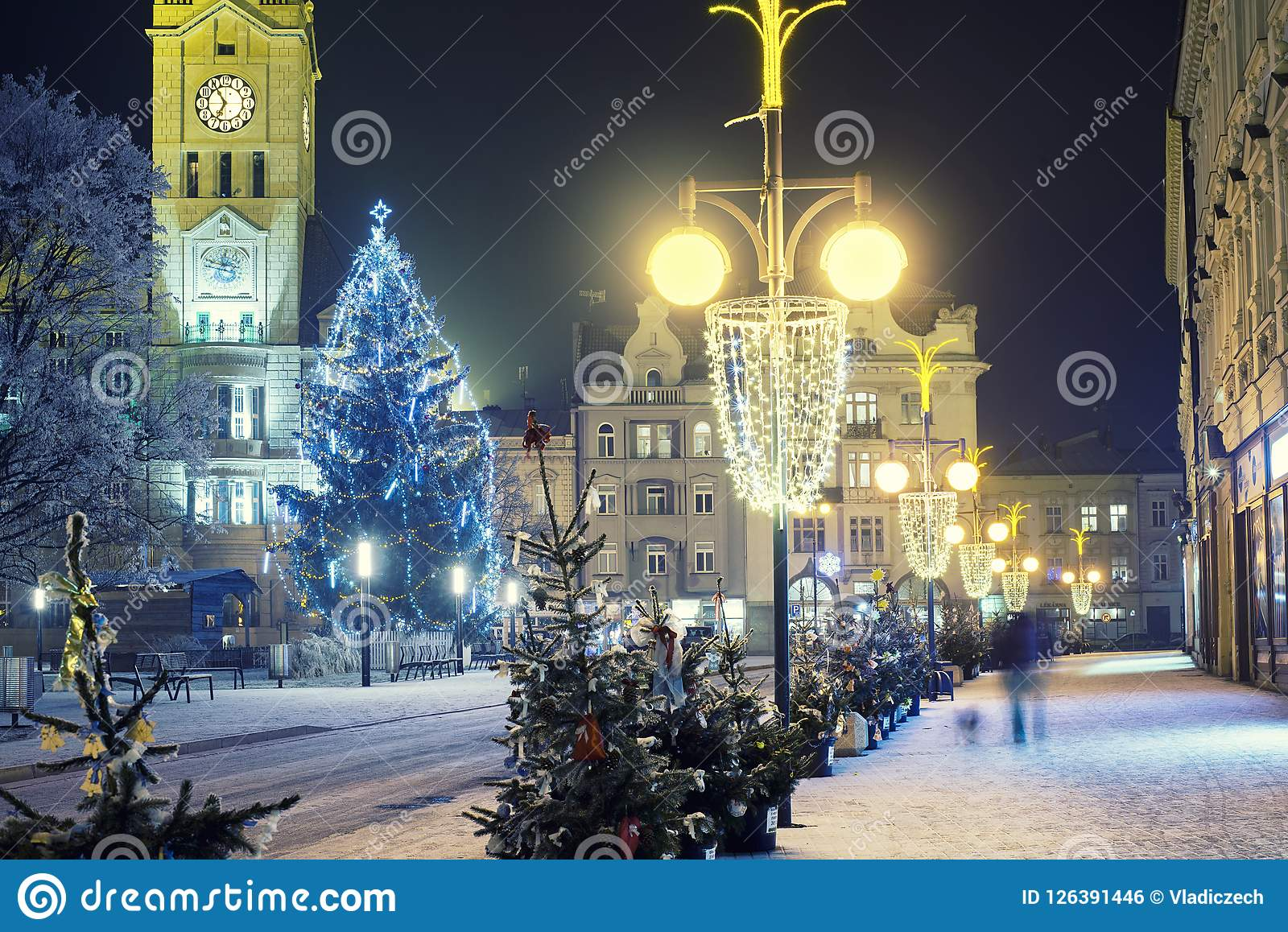 download empty christmas town with decorations and lights and the tree stock photo image
