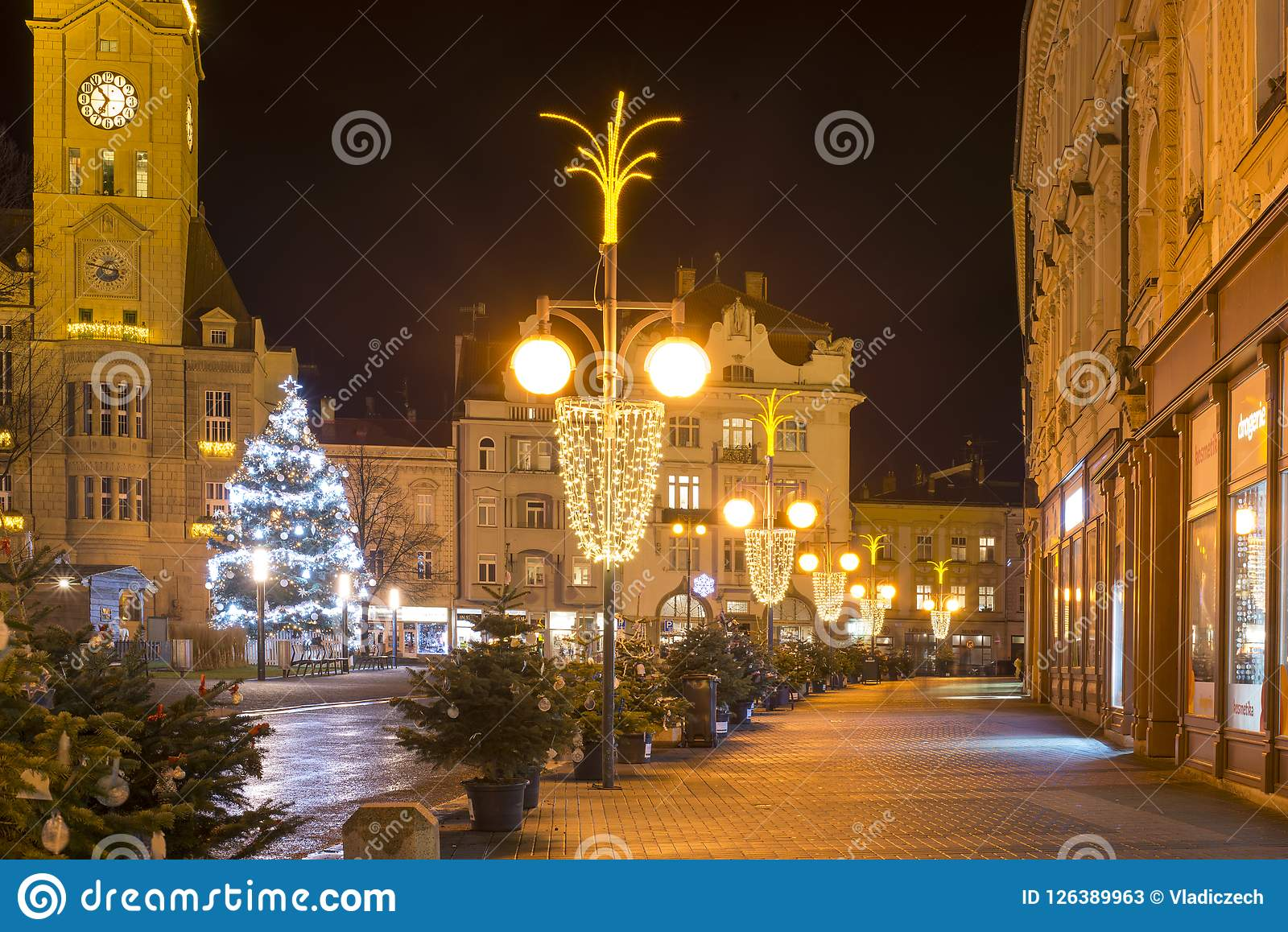 Empty Christmas Town With Decorations And Lights And The Tree No