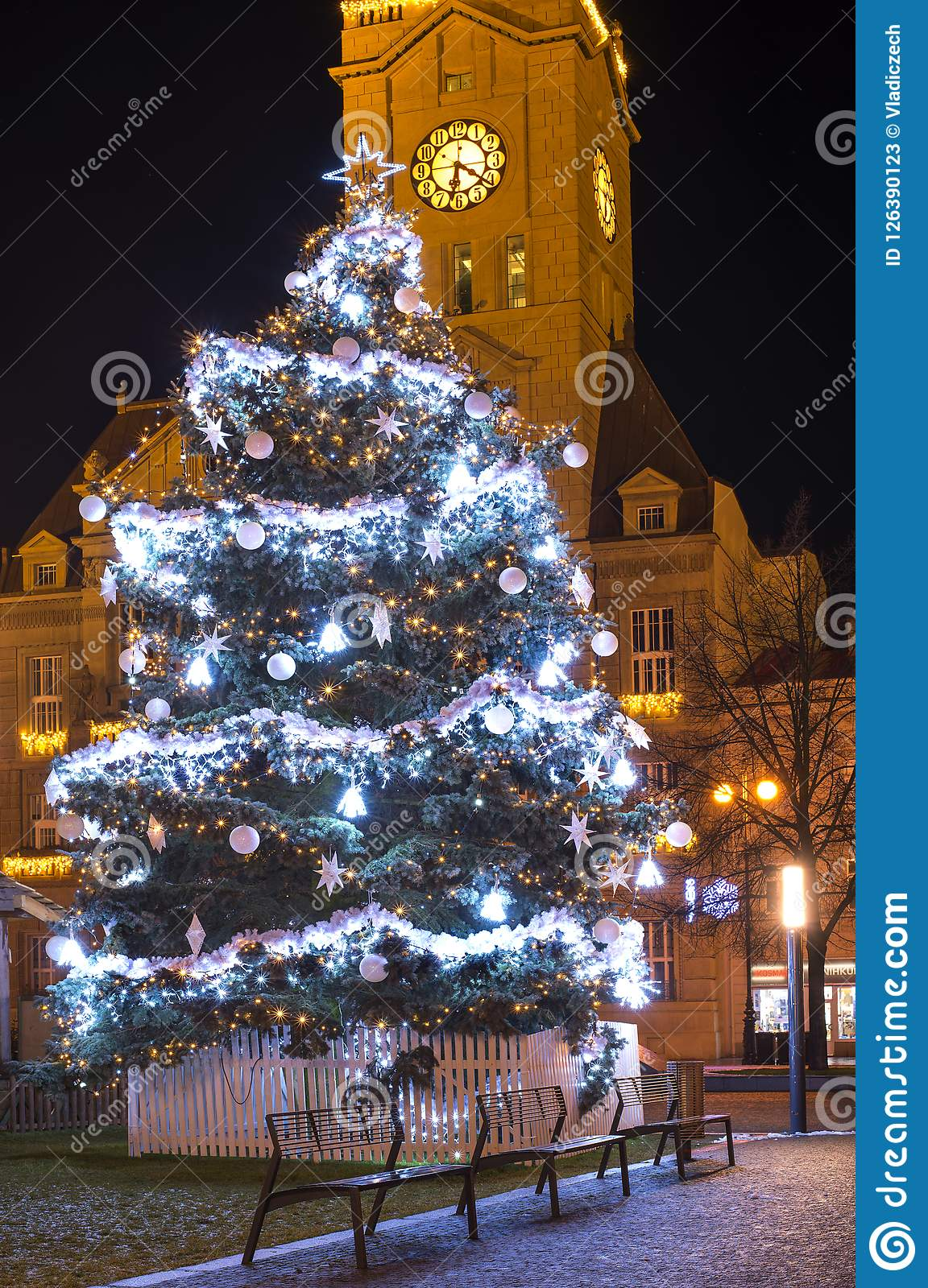 download empty christmas town with decorations and lights and the tree no snow winter time - Christmas Town Decorations