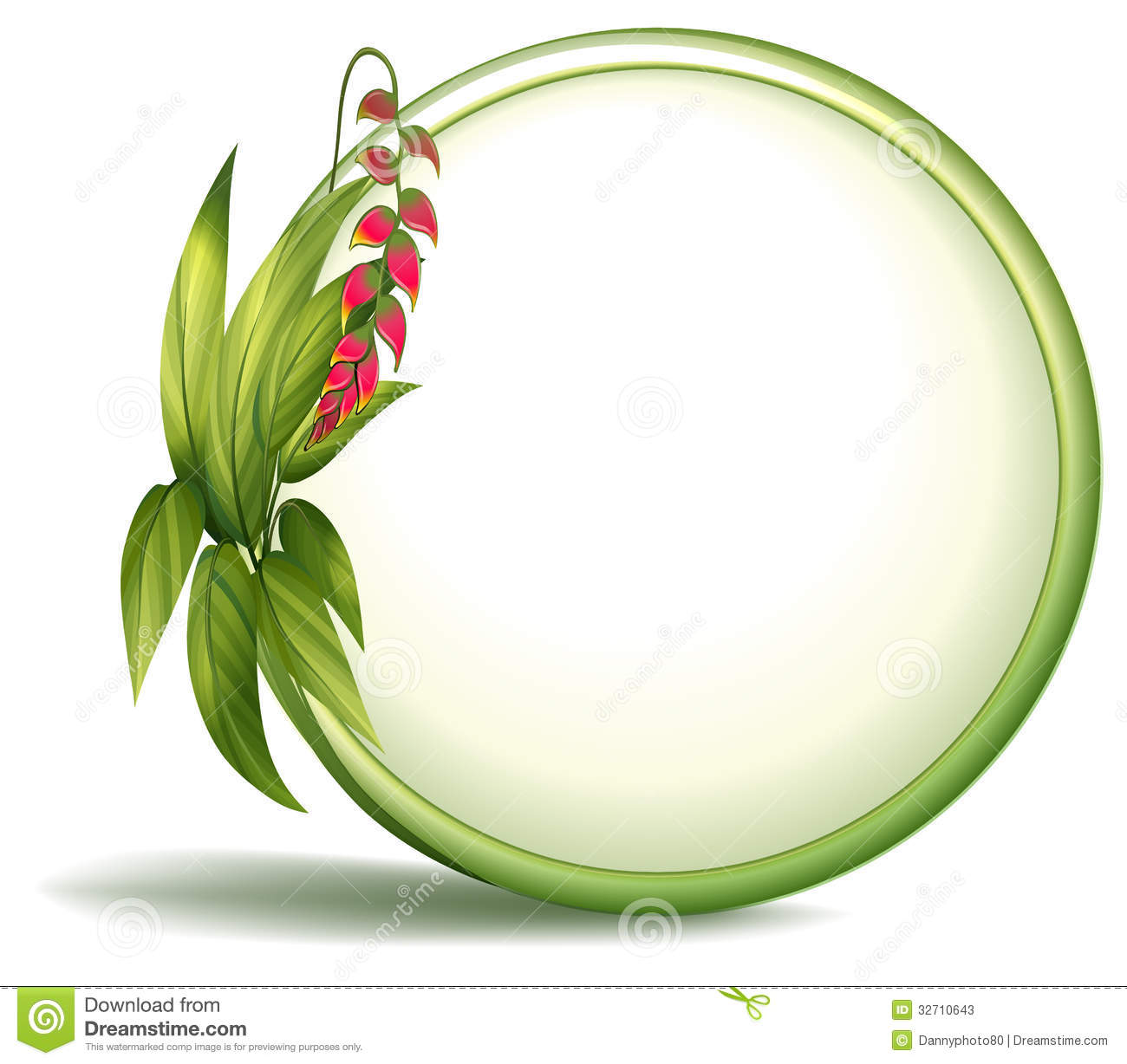 An Empty Circle Border With Elongated Leaves Stock Photos - Image ...