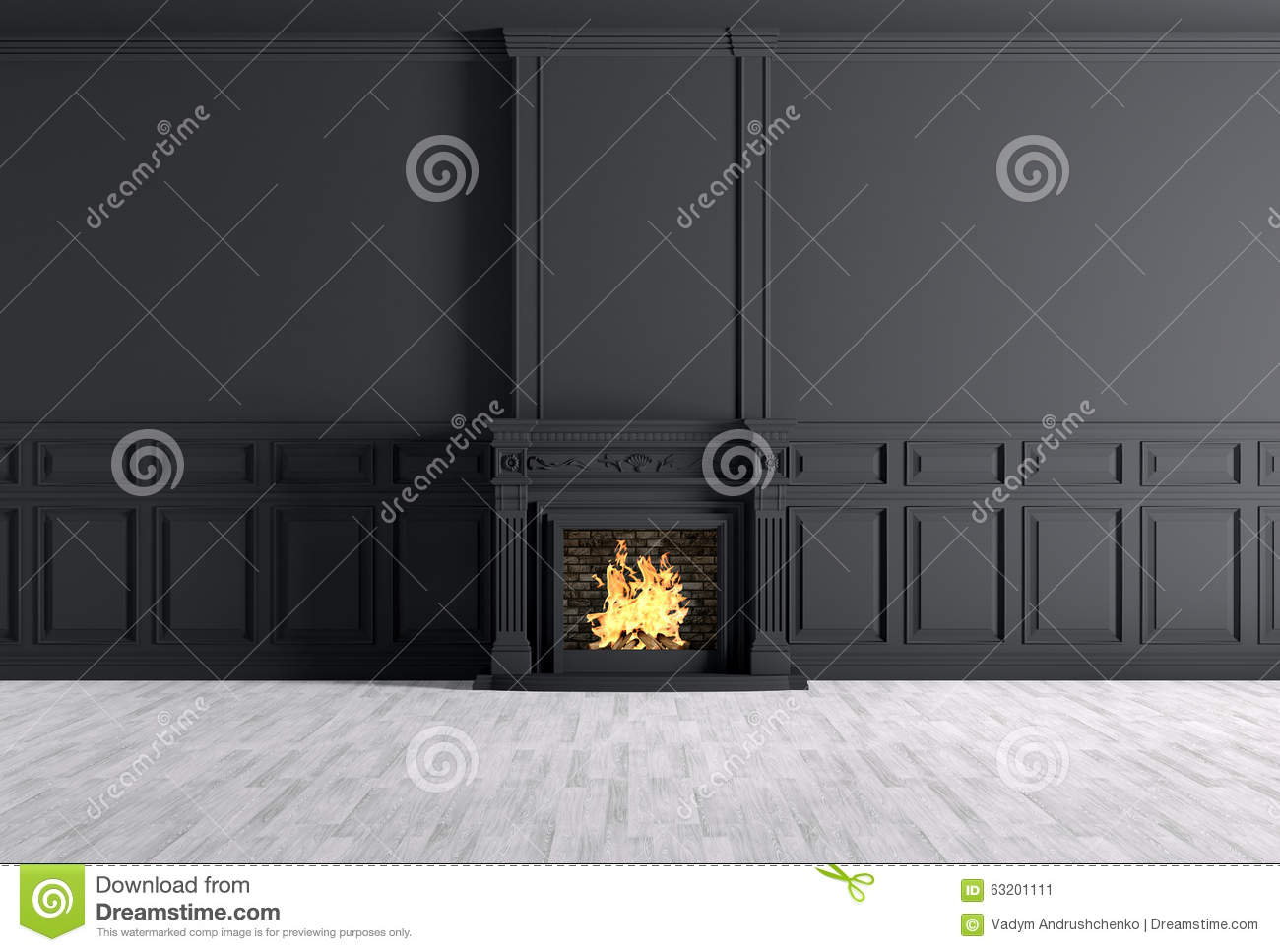 Black Wall Paneling : Empty classic interior of a room with fireplace over black