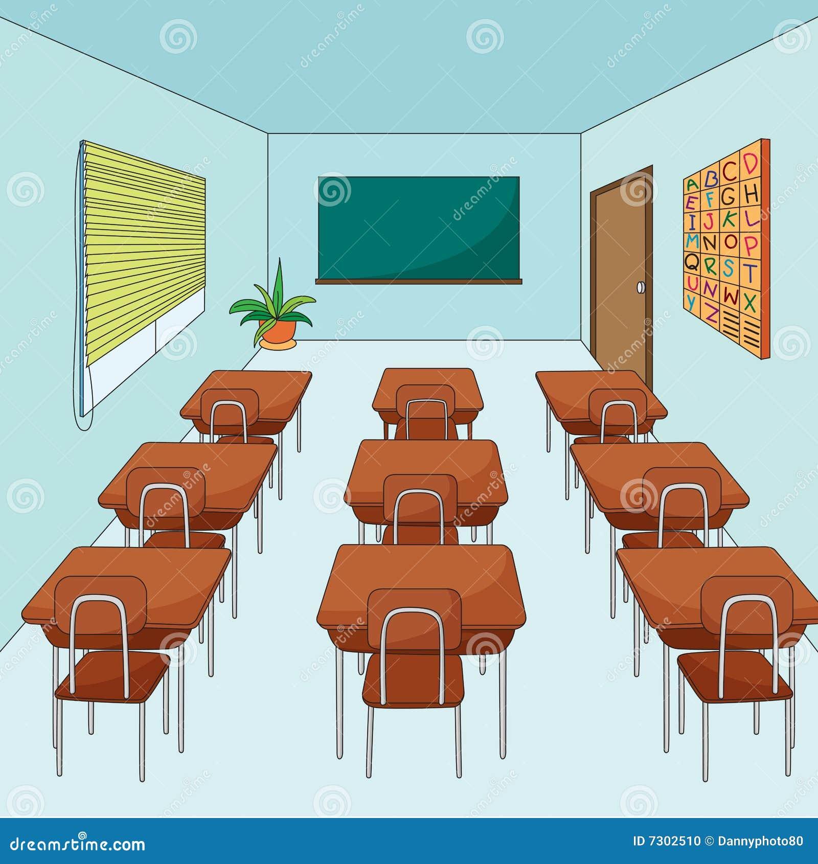 Empty cartoon classroom background - Empty Classroom Stock