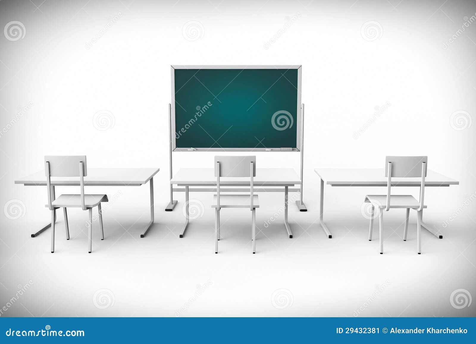 Classroom Blackboard Design ~ Empty classroom with blackboard and desk stock image