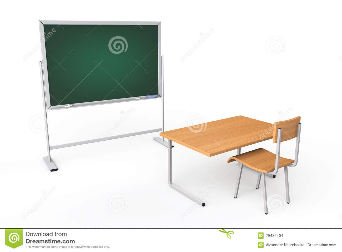 Empty Classroom With Blackboard And Desk Stock Images ...