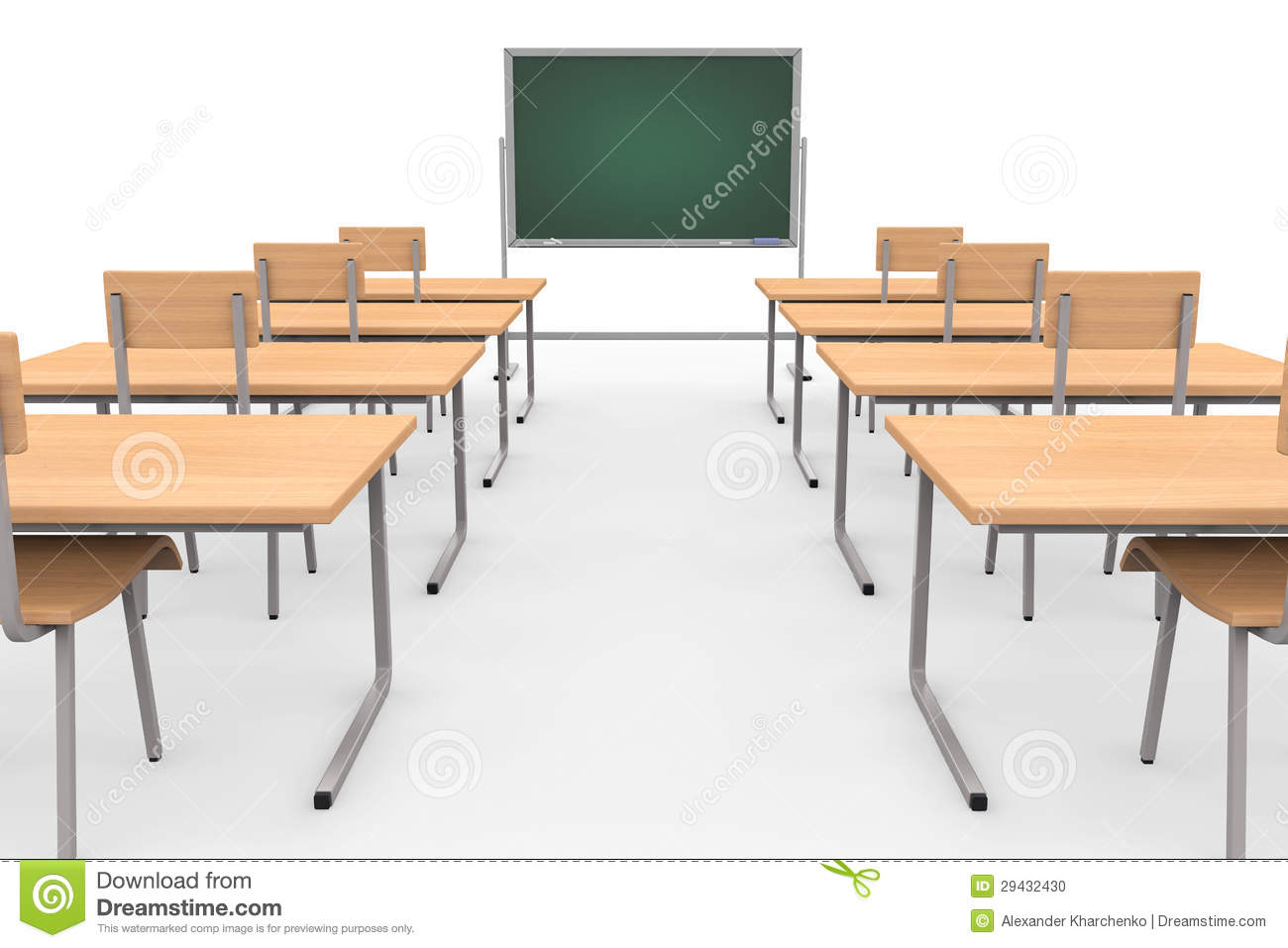 Empty Classroom With Blackboard And Desks Stock Photo ...