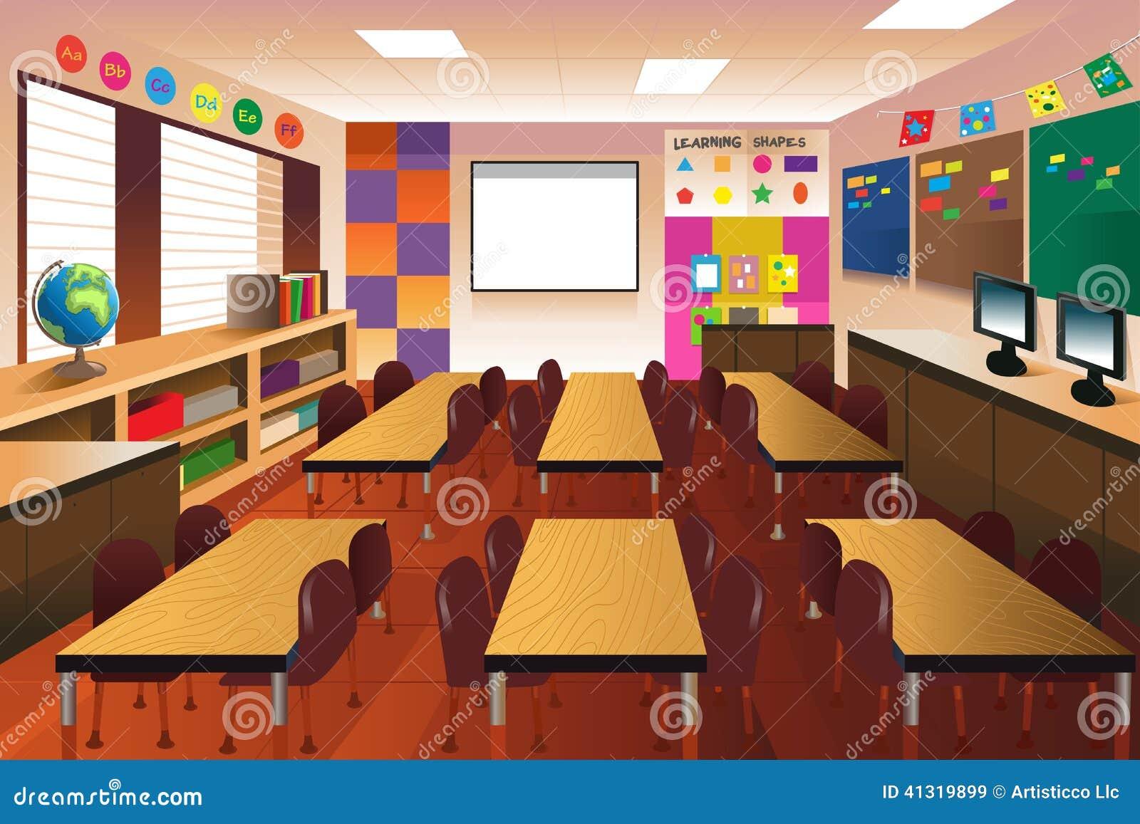 Modern Classroom Vector : Empty classroom for elementary school stock vector image