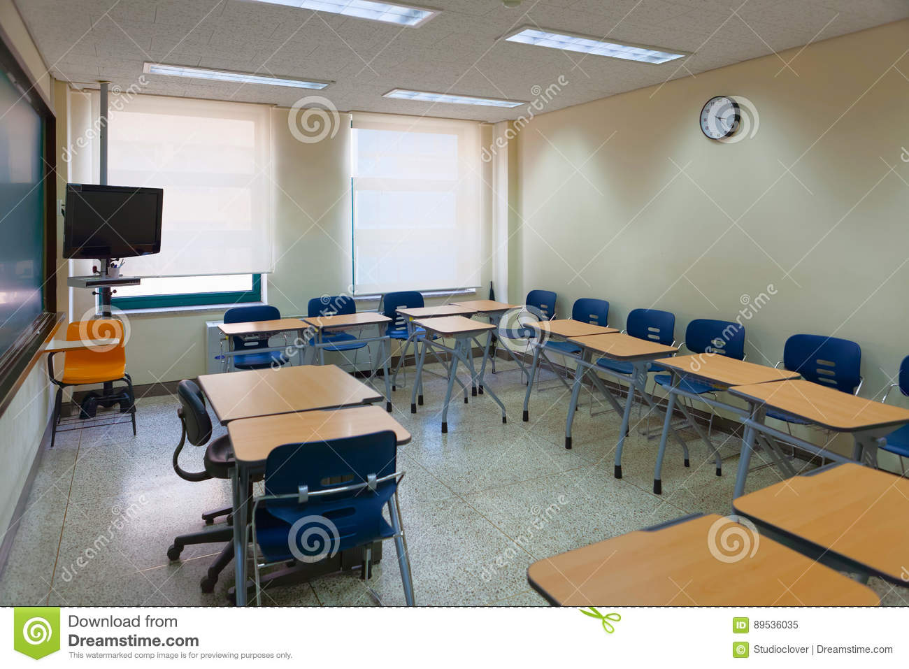 Modern Classroom Equipment : Empty classroom in a modern school fully equipped for high