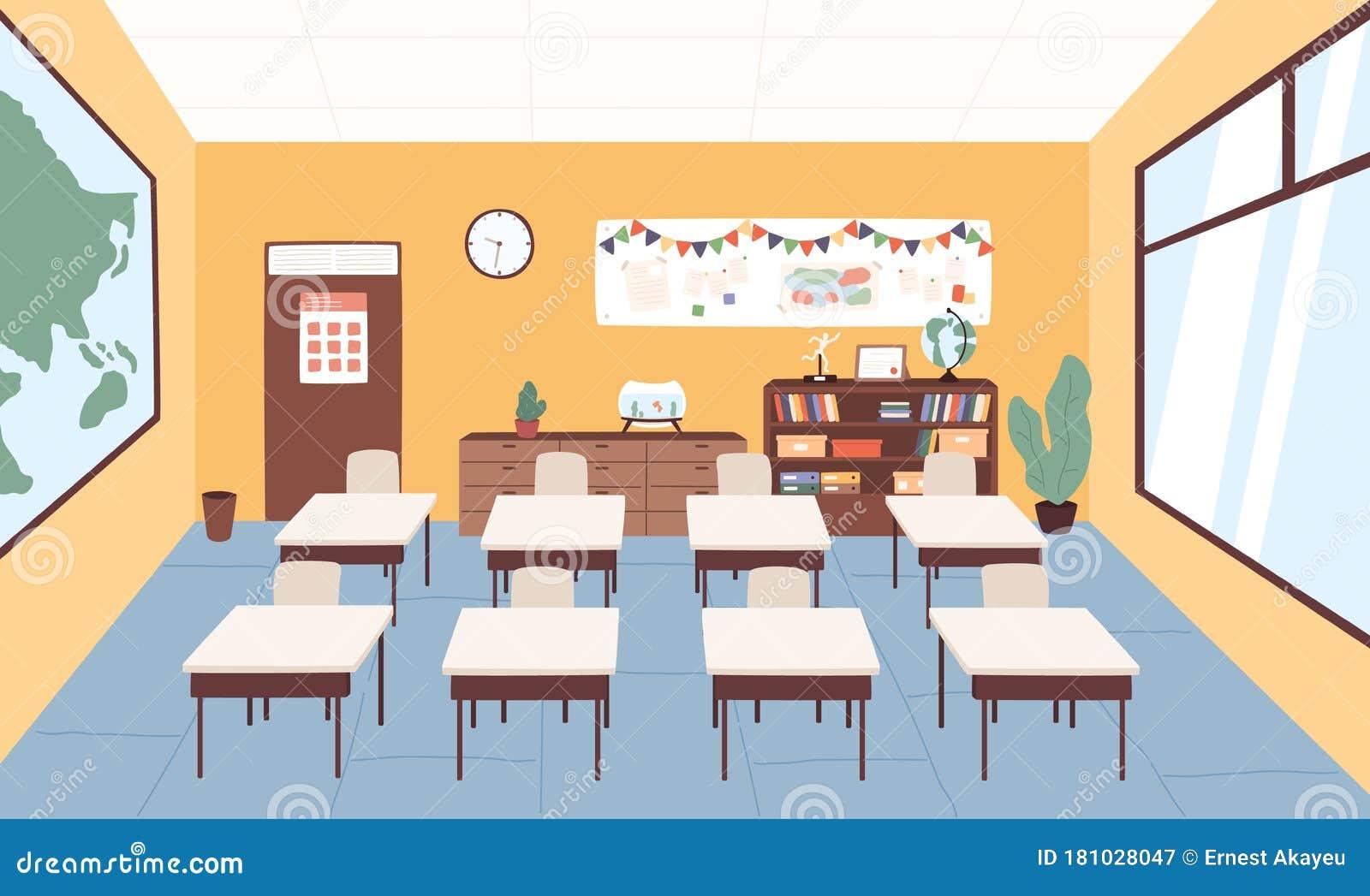 Empty Classroom At Primary School Vector Graphic Illustration Interior Of Cartoon Elementary Studying Room With Desk Stock Vector Illustration Of Cartoon Flat 181028047,Scandinavian Design Desktop Wallpaper