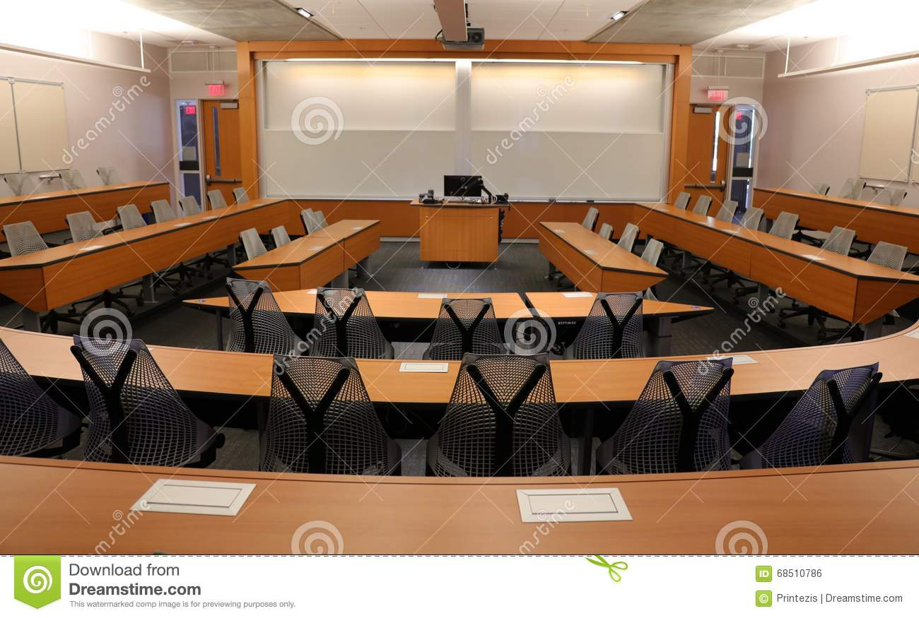 empty classroom with projector blank screen stock photo image of