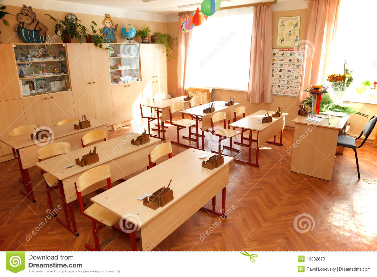 Empty Classroom Ready For Lessons Interior School Stock Photo