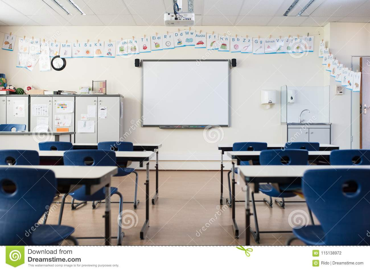Modern Classroom Board ~ Empty classroom with whiteboard stock photo image of