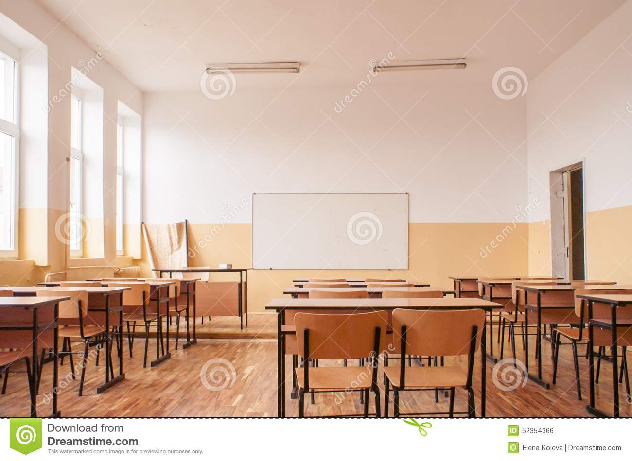 Classroom Window Design ~ Empty classroom with wooden desks stock photo image