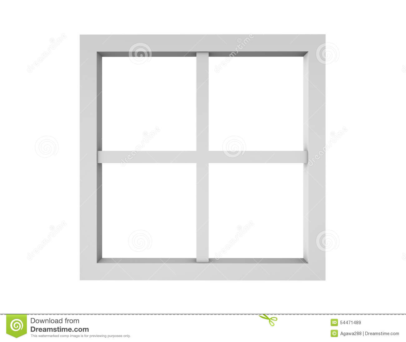 Empty Clean Window Frame Isolated On White. Stock Illustration ...