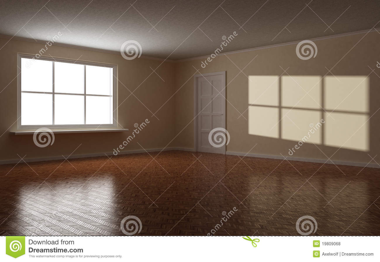 Empty Clear Room, White Window And Door Royalty Free Stock ...