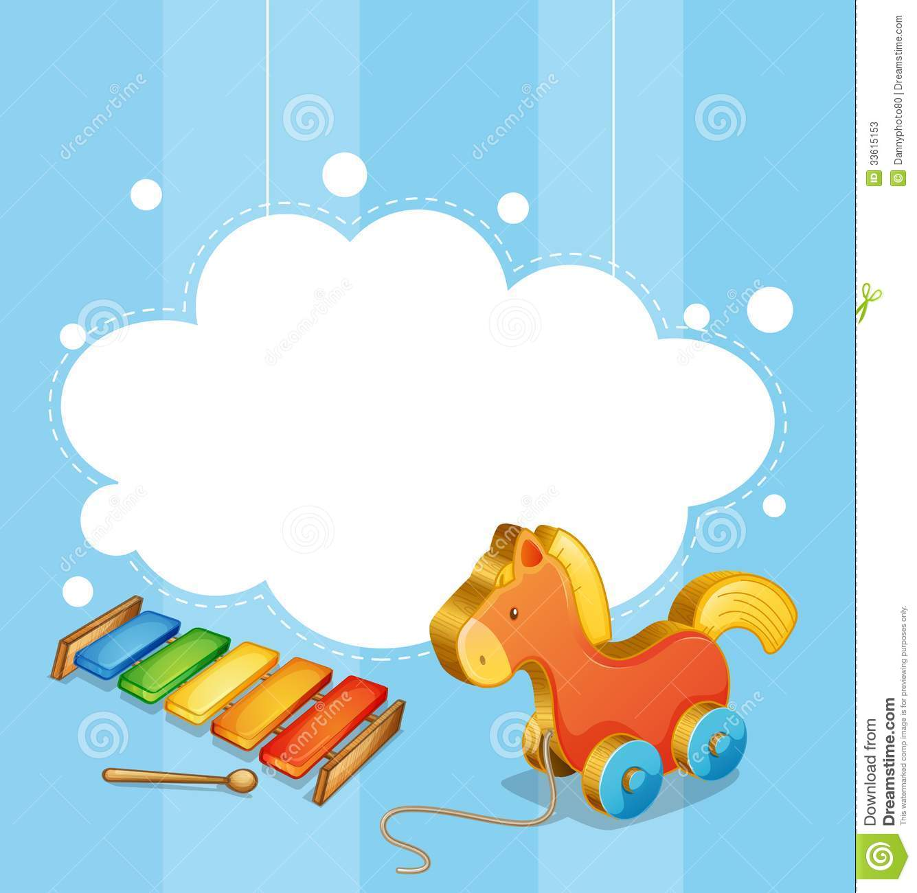 An Empty Cloud Template With A Toy Horse And A Xylophone Stock Photos ...