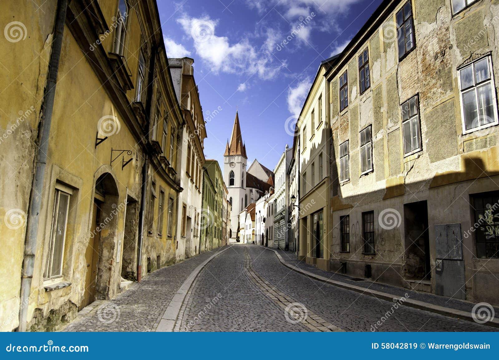 Empty Cobblestone Street In Znojmo, Czech Republic Stock ...