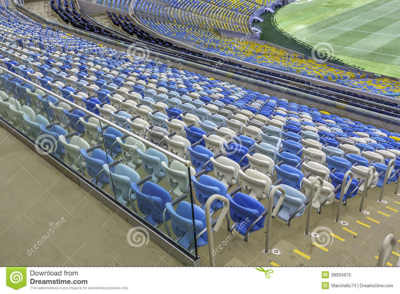 empty color stadium seats at maracana football stadium in rio de janeiro brazil editorial image