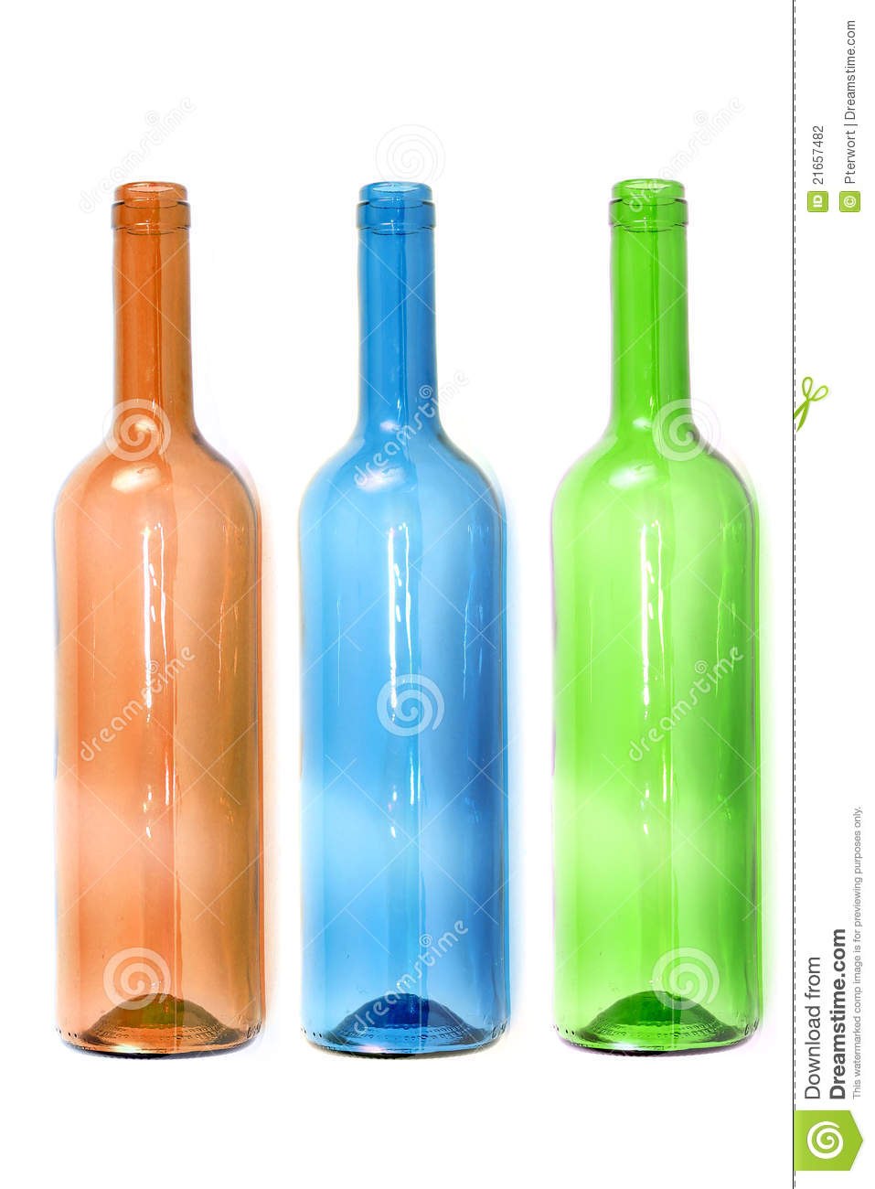 Empty colored wine bottles stock photography image 21657482 for Where to buy colored wine bottles
