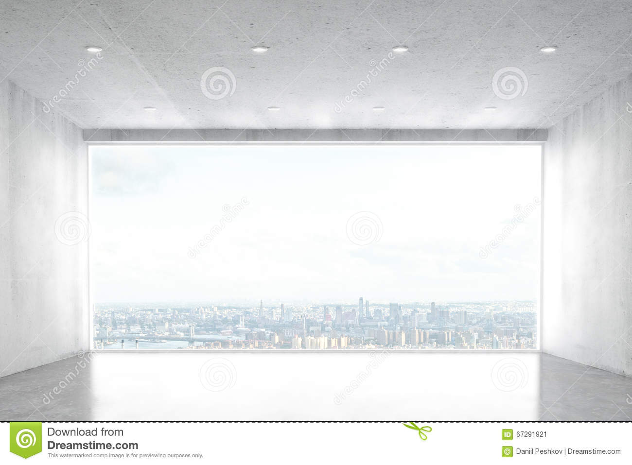 Empty living room with large windows can be as background stock - Big City Concrete Empty Room View Window Sky Living Apartment Dark Nobody Ceiling Background