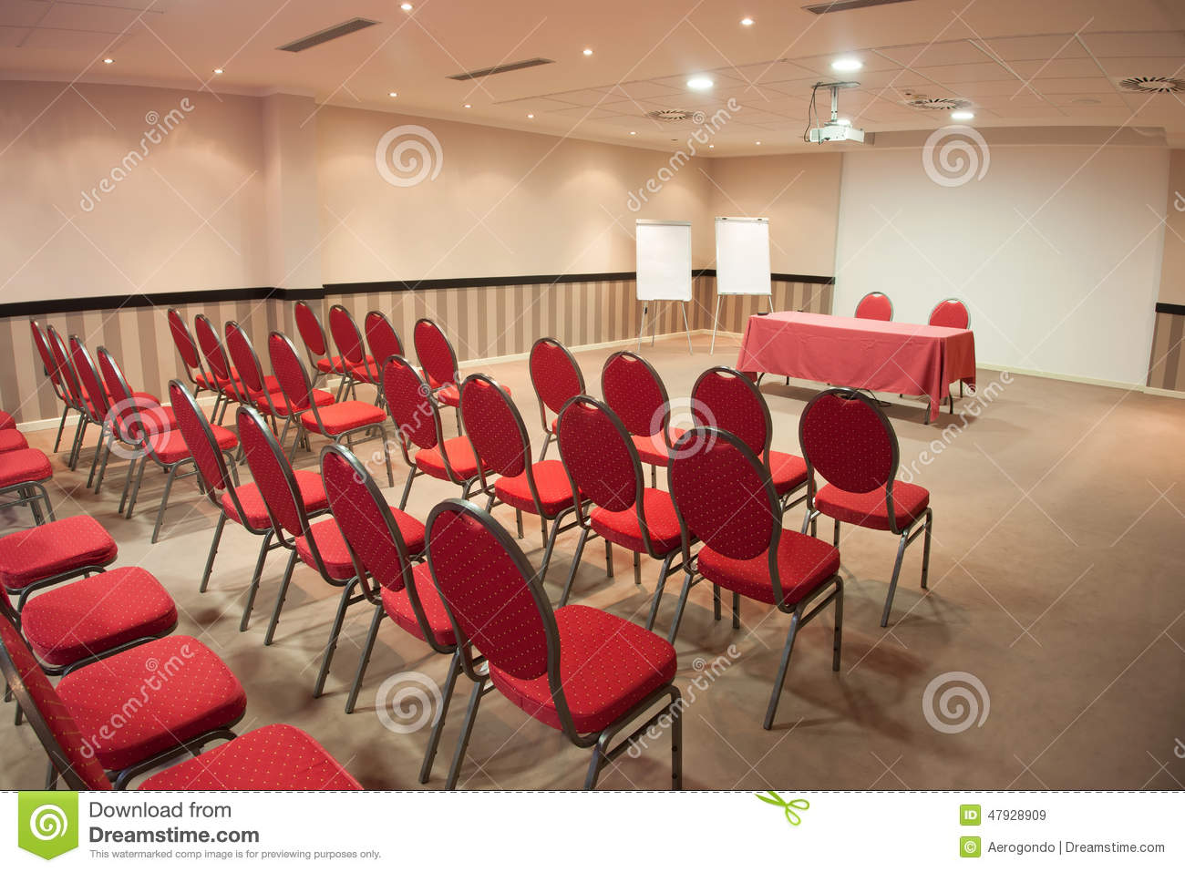 Empty chair in room - Royalty Free Stock Photo Download Empty Conference Room With Red Chairs