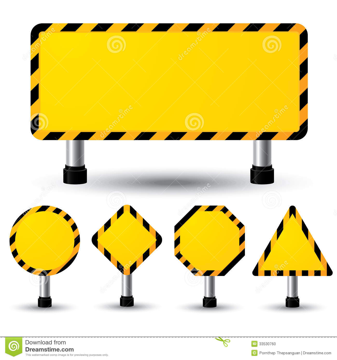 Empty Construction Sign Stock Vector Image Of Push Element