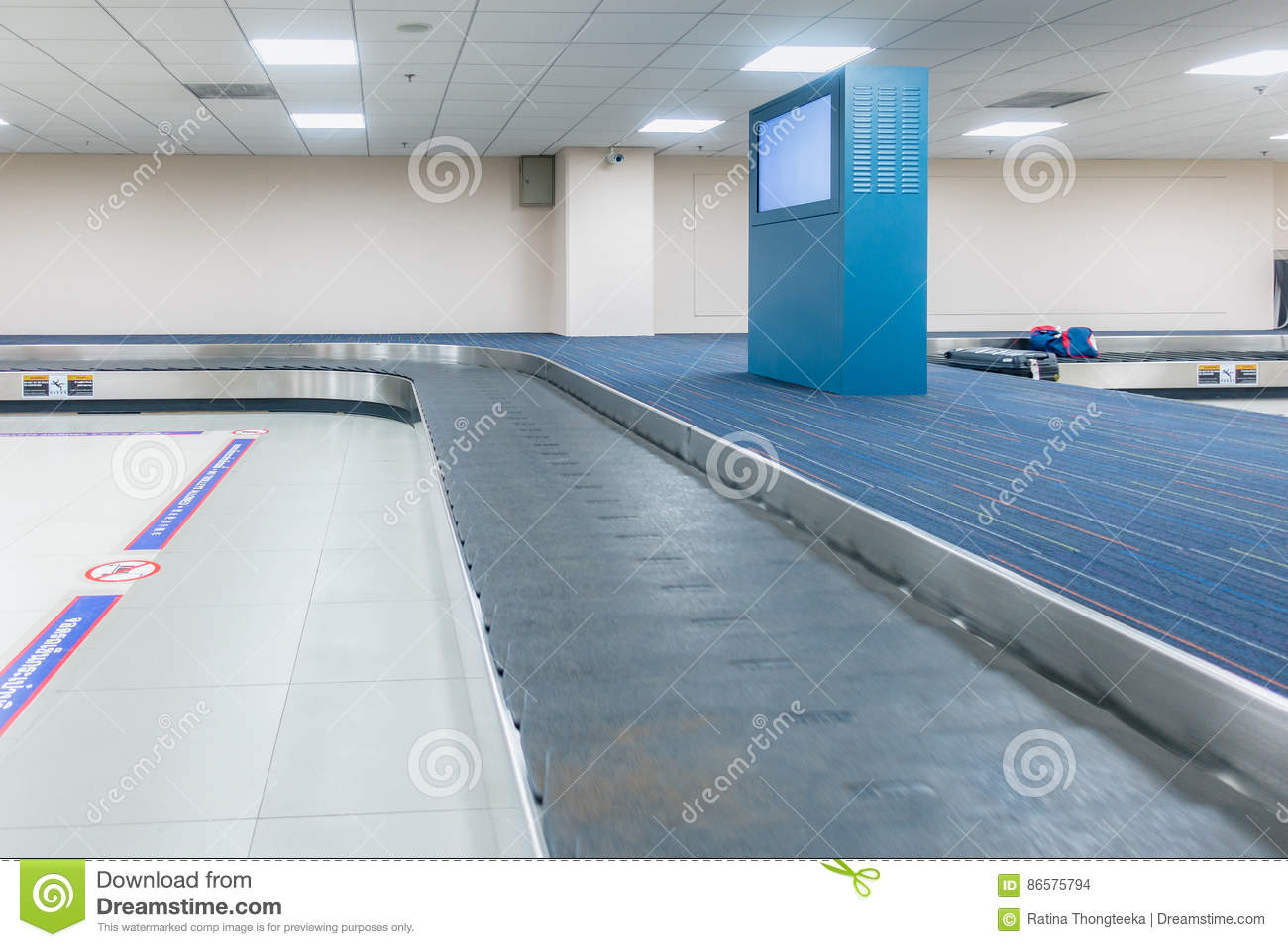 Download Empty Conveyor Belt For Carrying The Passenger Luggage Or Baggag Stock Photo - Image of motion, suitcase: 86575794