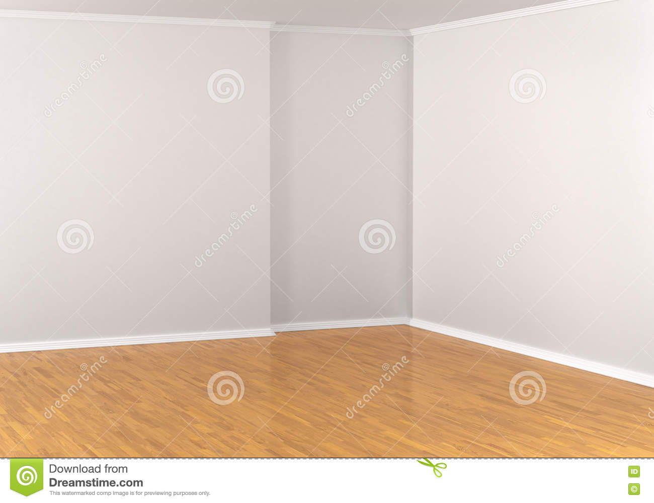 Empty Corner In A Room White Walls Stock Illustration