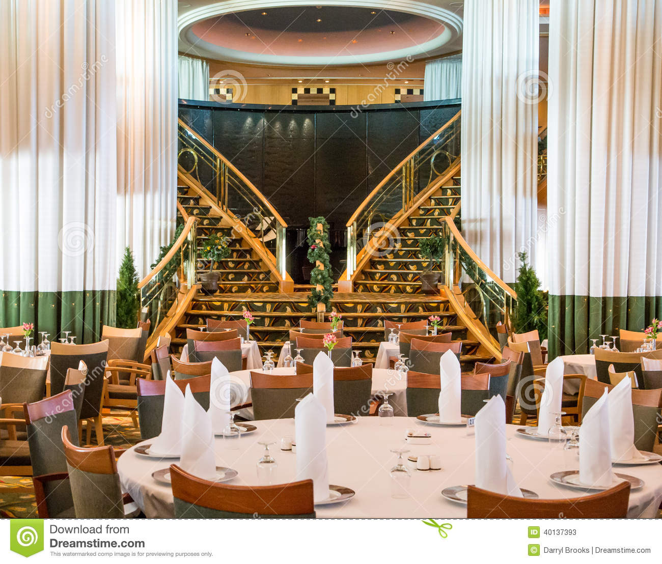 Cruise dining luxury room ship  Empty Cruise Ship Dining Room Stock Photo   Image  40137393. Ship Dining Room Set. Home Design Ideas
