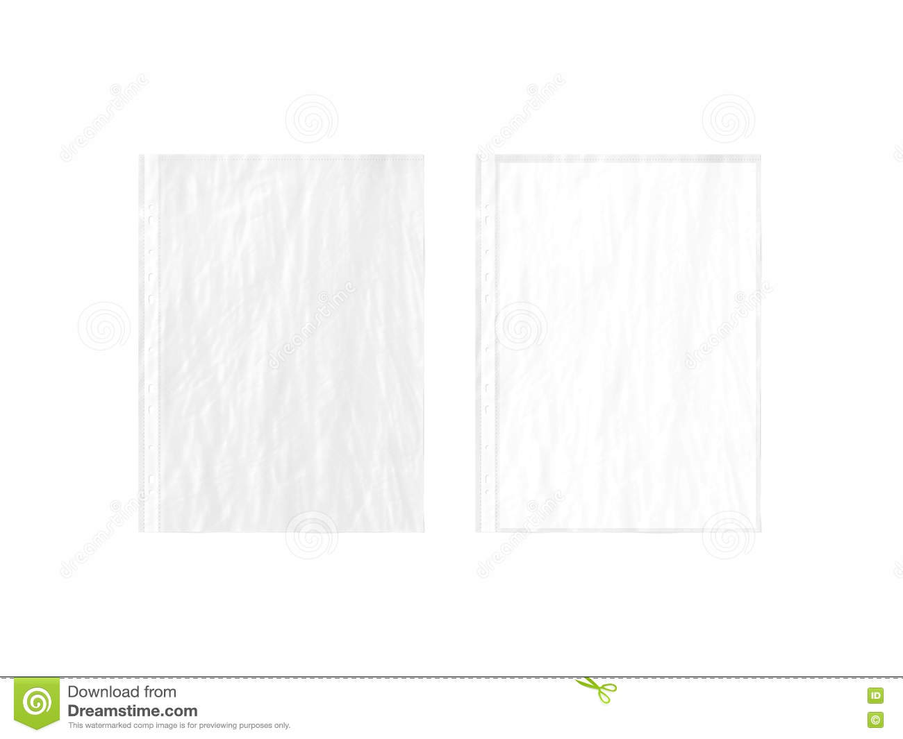 empty crumpled document protector and blank white a4 paper stock