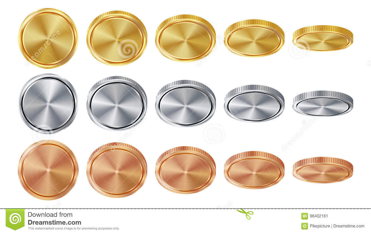 Empty 3D Gold, Silver, Bronze Coins Vector Blank Set