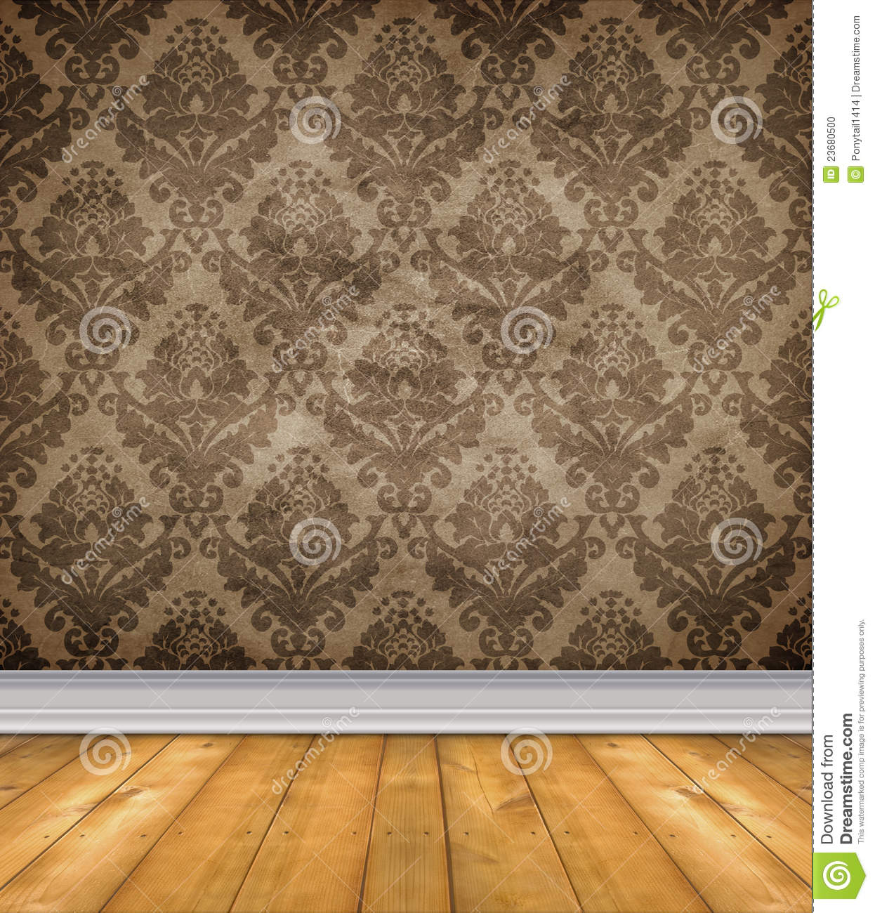 Empty Damask Room With Bare Floors Stock Photo Image