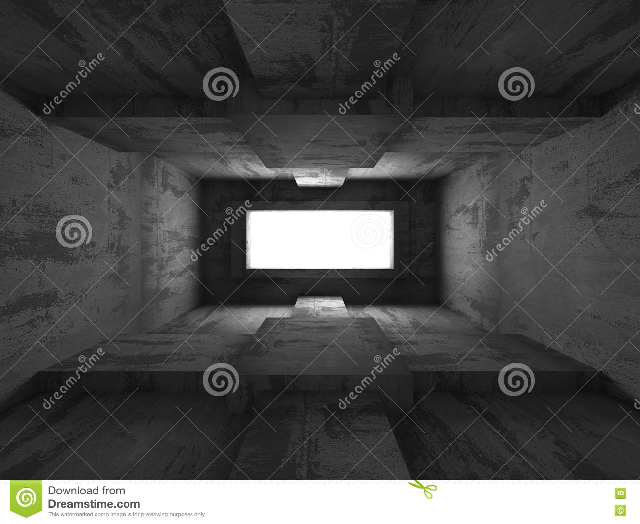 Empty Dark Basement Concrete Interior Abstract Architecture Background Stock Illustration