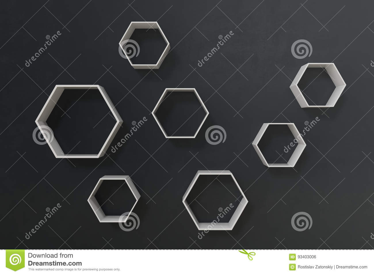 Empty Dark Or Black Wall With Hexagon Shelves On The Wall 3d Rendering Stock Photo Image Of Display Background 93403006
