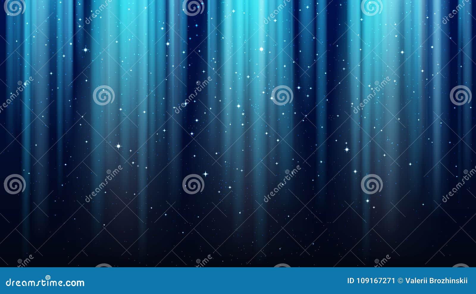 Empty dark blue background with rays of light, sparkles, shining night star sky